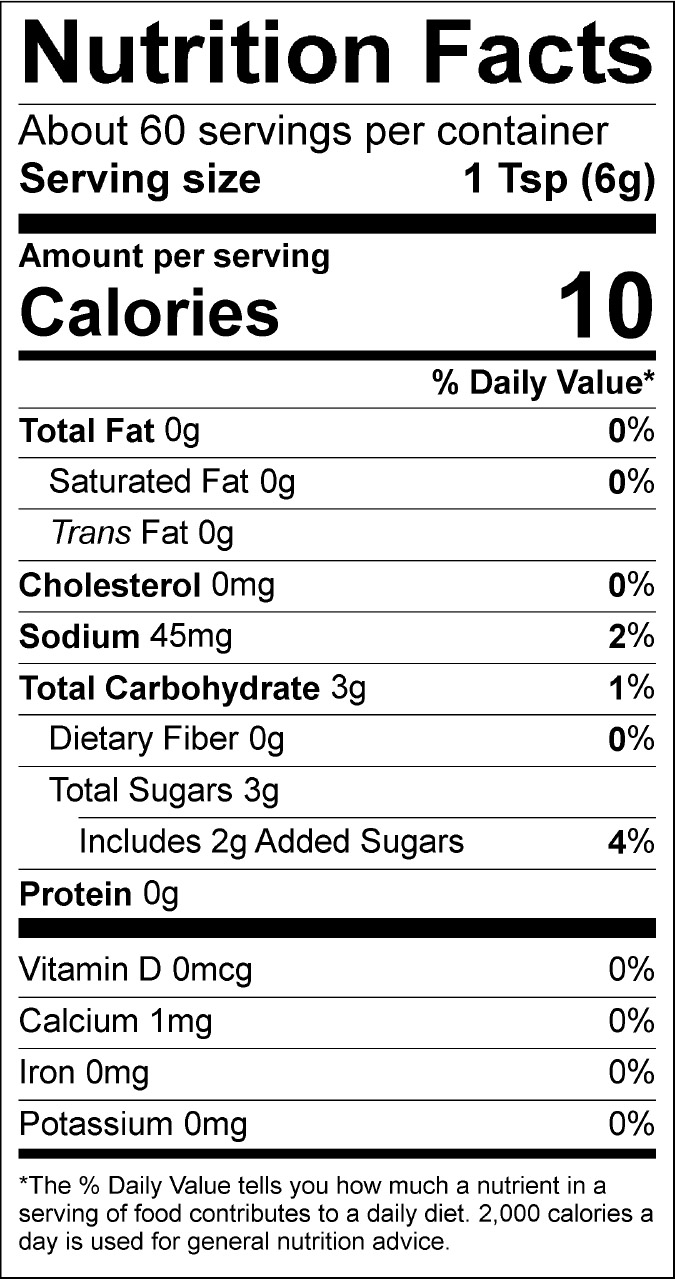 Honey BBQ Nutrition Label