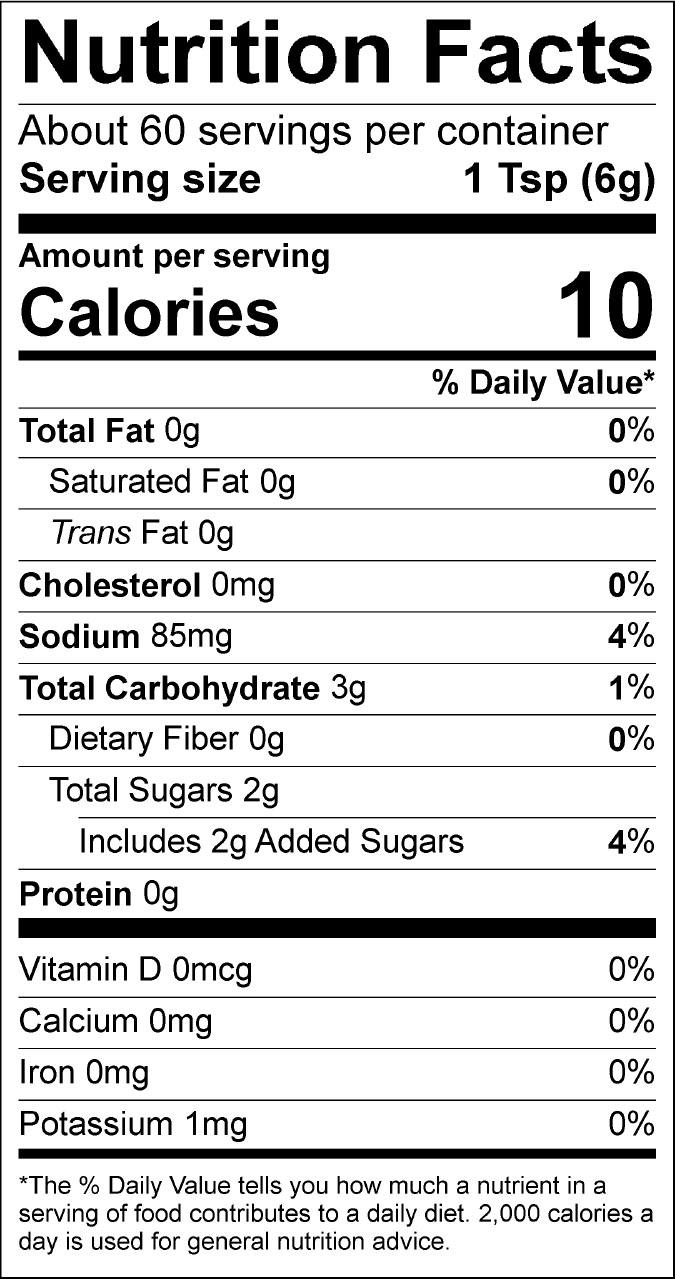 Teriyaki Nutrition Label